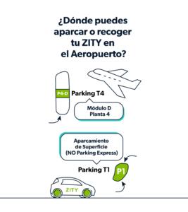 ¿Dónde aparcar o recoger tu ZITY en el Aeropuerto?